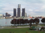 The view from the conference centre across the river to Detroit