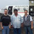 Douglas Crust, Chief Jimmy Rae and Kevin Houghton after returning to Balmertown from North Spirit Lake