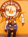 Donald sits proudly in front of the Keewaywin Logo.