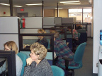 The call centre work station and staff