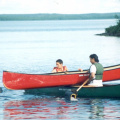 Canoe Rescue Session - positioning the empty canoe