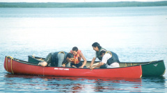 Canoe Rescue Session - helping get back into the canoe