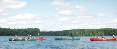 Four of the canoes on McInnes Lake
