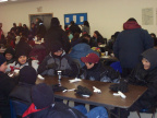 The Youth Centre quickly filled as some people finished eating and others took their place