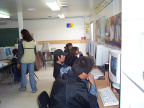 The Fort Severn Campus of the Keewaytinook Internet High School (KiHS) with the students busy at