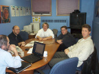 l-r: Dan Pellerin (K-Net Network Manager), Kevin Pashuk (NOMS IT Director), Bob Angell (Lakehead U. IT Director), Tom Hibbs (Cor