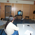 Heres Raymond talking to Brian Beaton from Sioux Lookout via Video Conferencing
