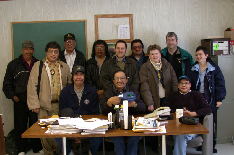 Deer Lake Council and visitors at the Band Office