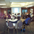 The meeting room at the Nottawasaga Inn was filled with workshop participants.