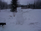 A snow scuplur created by Tyler Meekis of North Spirit Lake.