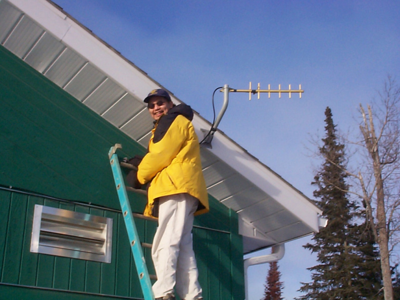 Dale Jack, taking down the antenna at the clinic in North Spirit Lake.