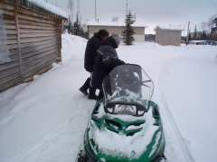 This is Jason Kakegamics skidoo. Nice eh? Its fast too. It took her only 45 minutes to get to Sandy Lake.