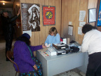 Diabetes check at North Spirit Lake Band Office. Here's the chiefs wife, Maggie Linklater getting her blood checked.