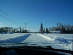 that is the view of us driving to the winter road. But ahead is the lake. not the lake to the winter road.