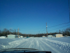 Another view of Keewaywin. There was a snow storm the night before. But the roads got plowed this morning