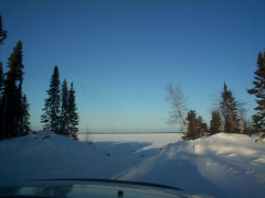 This is where the winter road begins. See the lake up ahead?