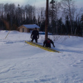And here is Raymond Mason trying to get ladder out. And Joseph standing beside Raymond who is knee deep in snow.