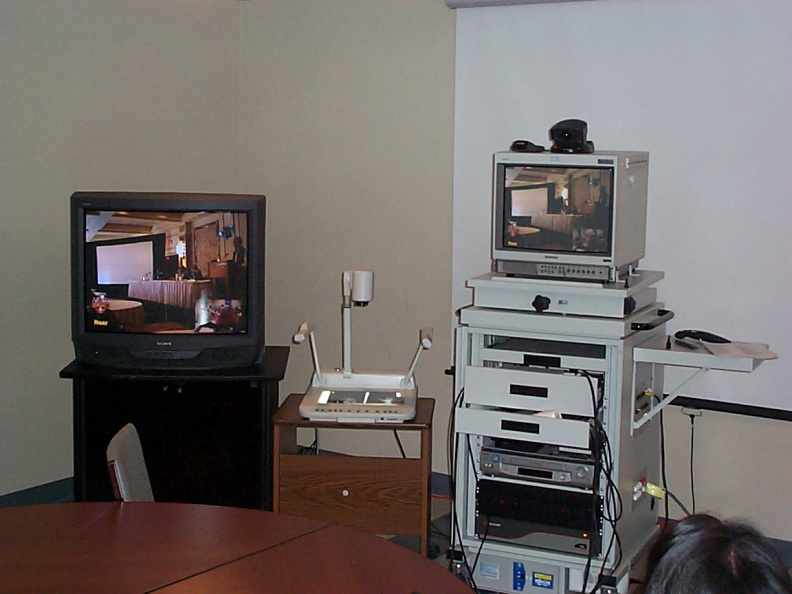 Balmertown Telehealth Workstation with picture of John Rowlandson telling people at the Conference about Telehealth..