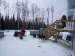 And here we are going to The Donalds house. One of our Keewaywin elders.