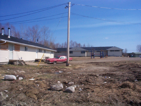 A picture taken outside the motel unit with Victoria Linklater Memorial School further to the right.