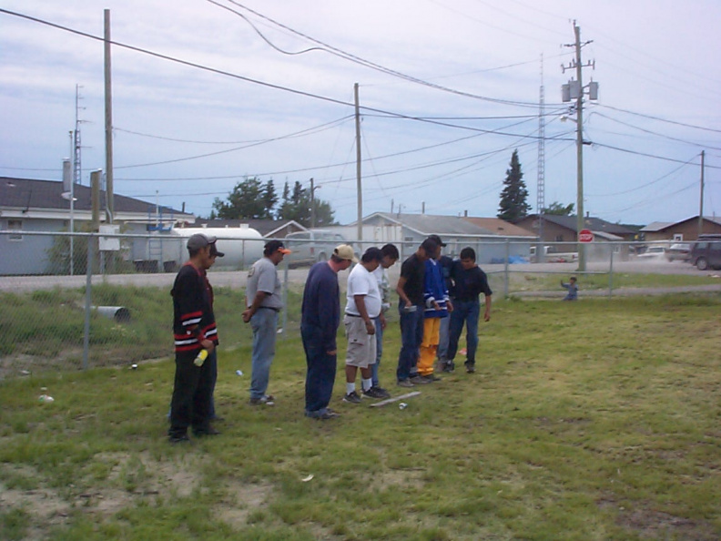 The mens 3 legged race as they line up.