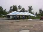 Men putting up this tent.Gospel tent meeting this weekend.