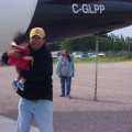 Donald Meekis and his son, Justin, arriving from Thunder Bay,