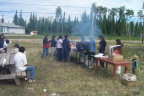 We had a nice bar b que out side of the Keewaywin band office. Recreation and jamboree committee are doing some fundraising.