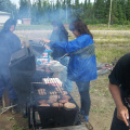 here we have the barbque going. Thats Rita Meekis in the blue.