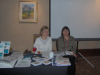 Sheraton Seibel and Lorraine Kenny at the Keewaytinook Okimakanak / FedNor table at the APEC Tel 2006 conference in Calgary