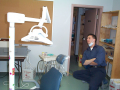 And here is Dennis the dentist waiting for the our next patient. He couldn't do any fillings yesterday, because the equipments d