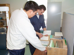 And here is Jason with Dennis making sure that he writes down his medical history, and filling in forms before he gets seen.