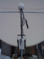 The base for the dish was used by the former TVO dish and contributed by TVO along with the use of their cabin for the equipment