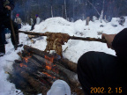 Elder Bill Rae shows us how to roast moose fat over the fire. We all know how rare fat is on a moose. :)