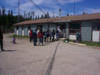 Here we are in line at the band office in Deer Lake on Treaty Day.