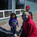 I was too late to see Barney and Woody, but the clowns were still entertaining the kids.