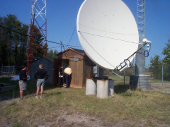 From Shibogama's office we walked up to the Sioux Lookout water tower, C-Band satellite earthstation providing the connections f