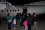 Okay after cleaning the lens. hehe. Here we have a clear view of the evacuees getting on the plane.