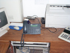 The ip phone in it's new home at the Northern Chiefs office in Fort Severn.