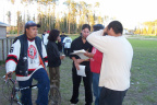 And here we have some Keewaywin people swarming around one of the co-ordinators of the Keewaywin Jamboree