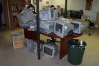 And here we have the old computers that were donated throught the school net program. right now we have ten of these that will b