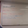 this is our white board where we put up the daily happenings and upcoming schedules of the Keewaywin e-centre