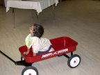 Sam testing out his new wagon.