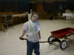Great picture of Sam pulling his wagon