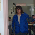 This is our well baby clinic Rita Meekis getting ready to do her program at the Keewaywin health clinic