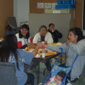 The ladies eating away on bannock, klik, and muffins. Tea, Juice and coffee was also served HMMM!!!