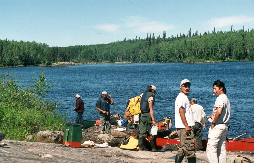 After the lunch portage, everyone is getting ready to hit the Berens River again