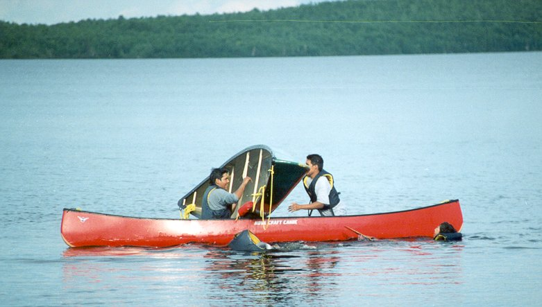 Canoe Rescue Session - emptying the canoe