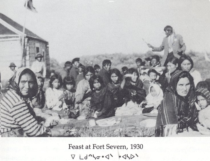 "Feast at Fort Severn, taken in 1930 from ""the Kayahna ... Occupancy Study"" published in 1985"